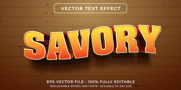 Comida de sabor salado efecto de texto editable