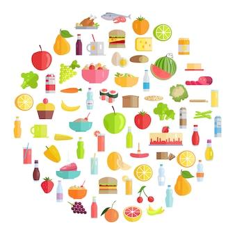 Comida sabrosa, productos comestibles y bebidas refrescantes