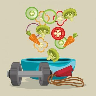 Comida saludable y equipos de gimnasia