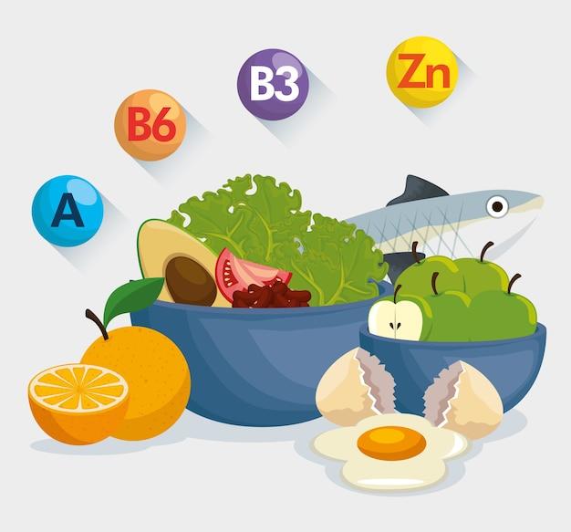 Comida saludable con información nutricional