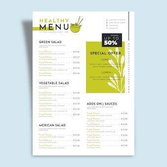 Comida saludable con menú de restaurante con ofertas especiales