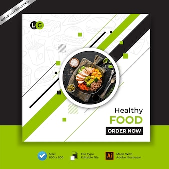 Comida saludable restaurantes banner y publicación en redes sociales
