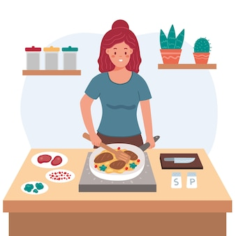 Comida sana cocinando estilo de vida