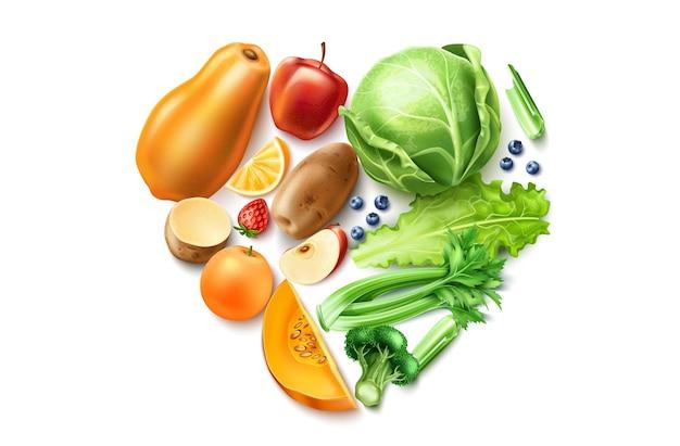 Comida sana, composición realista de frutas y verduras orgánicas en forma de corazón