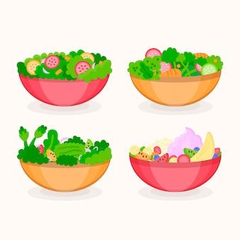 Comida sana en cuencos de diferentes colores