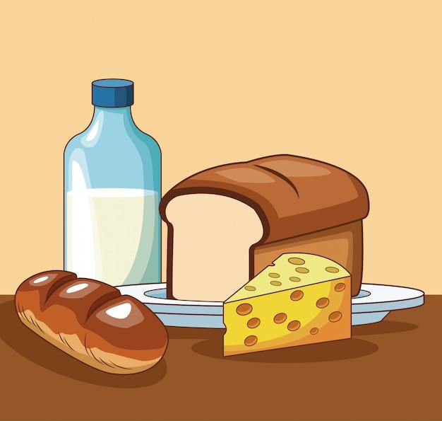 Comida sana en dibujos animados de mesa