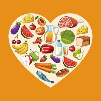 Comida sana en forma de corazón