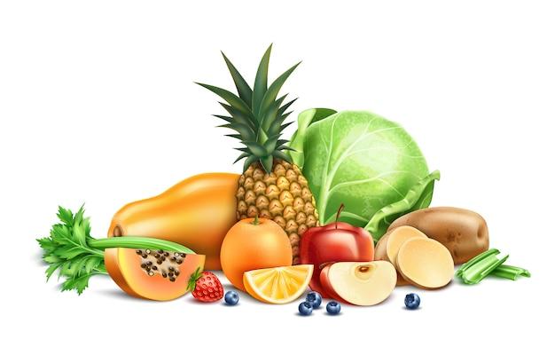 Comida sana, frutas y verduras orgánicas y bayas.