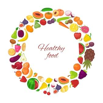 Comida sana con frutas y verduras orgánicas en círculo aislado en blanco