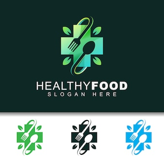Comida sana moderna con plantilla de diseño de logotipo de hoja