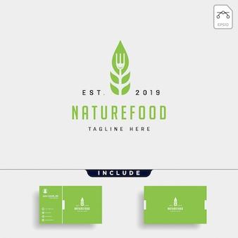 Comida sana naturaleza simple logotipo plano.