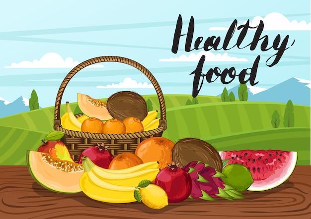 Comida sana con paisaje rural