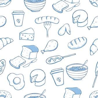 Comida sana en patrones sin fisuras con estilo doodle