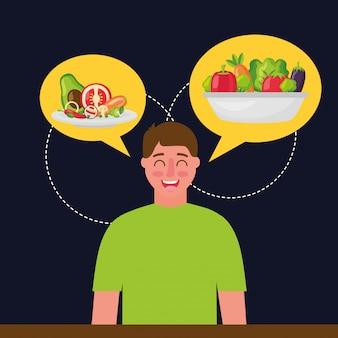 Comida sana de personas