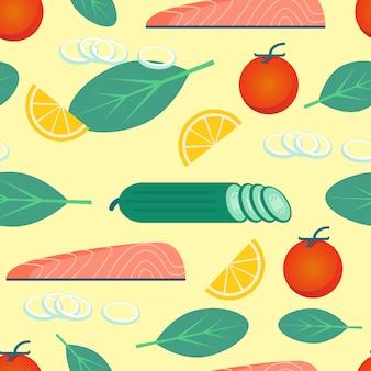 Comida sana sobre fondo amarillo verduras