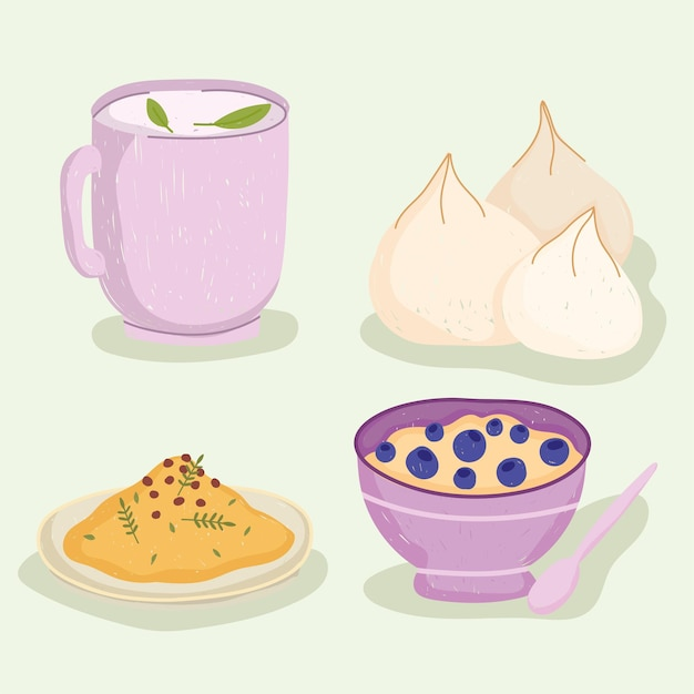 Comida sana taza de té cereal arroz y ajo iconos ilustración