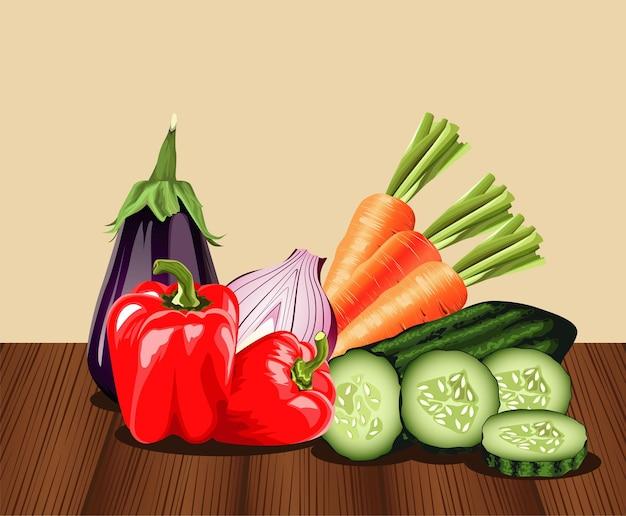 Comida sana vegetariana con verduras en mesa de madera