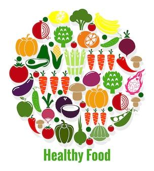 Comida sana de verduras. zanahoria y tomate, patison y aguacate, vegana y pepino y pimiento. ilustración vectorial