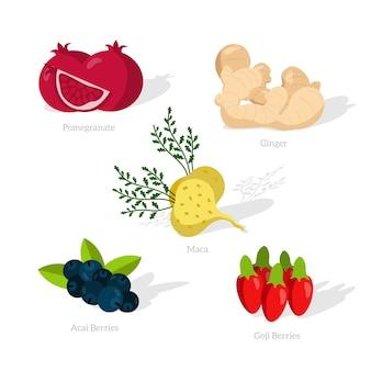 Comida súper saludable y sombras