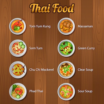 Comida tailandesa deliciosa y famosa