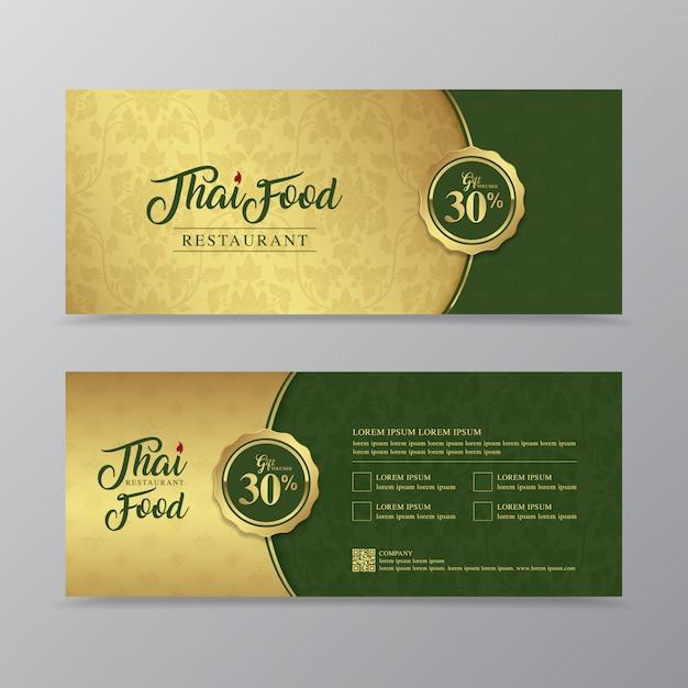 Comida tailandesa y plantilla de diseño de vale de regalo de restaurante tailandés