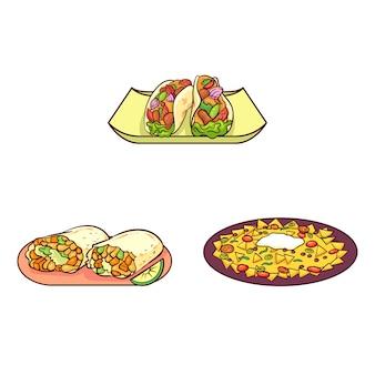 Comida tipica de mexico dibujada a mano