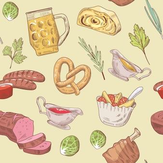 Comida tradicional alemana dibujada a mano de patrones sin fisuras