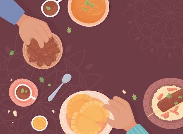 Comida tradicional árabe, vista superior
