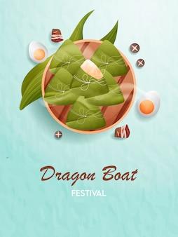 Comida tradicional del festival del bote del dragón.