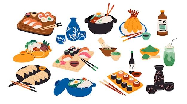 Comida tradicional japonesa en diseño plano.