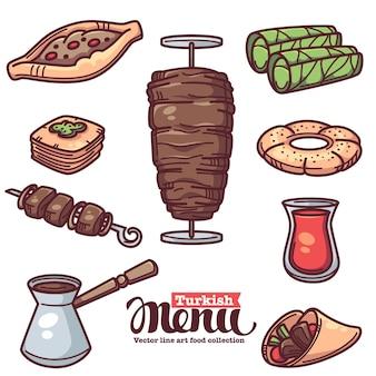 Comida tradicional turca, colección de objetos de arte lineal para su menú.