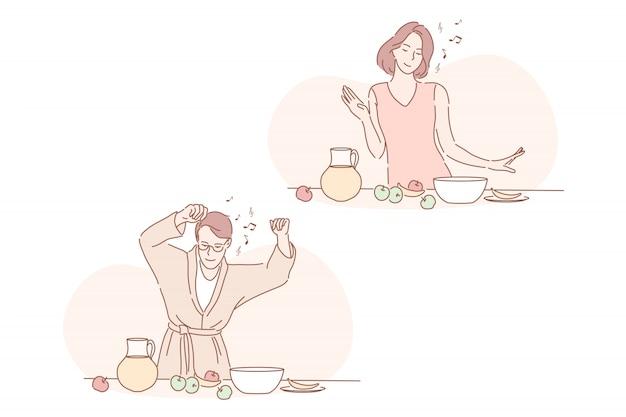 Comida vegana saludable, desayuno, buen día establecer concepto