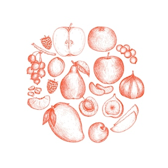 Comida vegana saludable fondo dibujado a mano