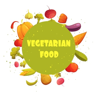 Comida vegetariana dieta redonda círculo verde verduras frescas composición dibujos animados retro estilo icono cartel
