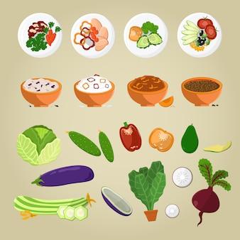 Comida vegetariana y platos a partir de verduras.