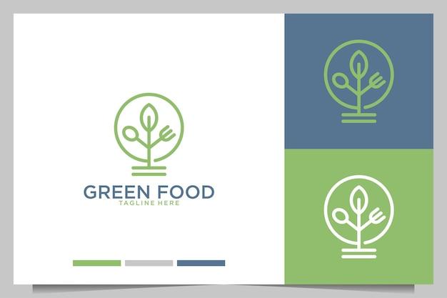 Comida verde con diseño de logotipo de tenedor y cuchara.
