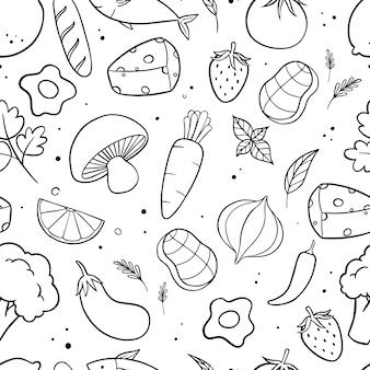 Comida y verduras doodle de patrones sin fisuras