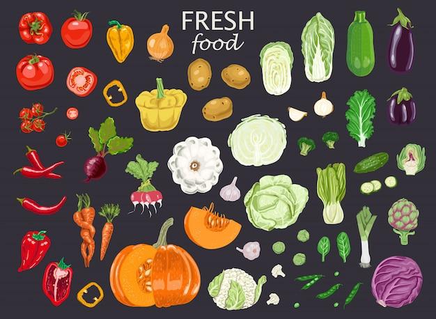 Comida y verduras fesh