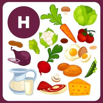 Comida con vitamina h, b7.