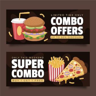 Las comidas combinadas ofrecen pancartas horizontales ilustradas.
