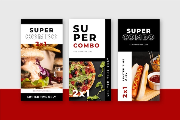 Las comidas combinadas ofrecen pancartas verticales