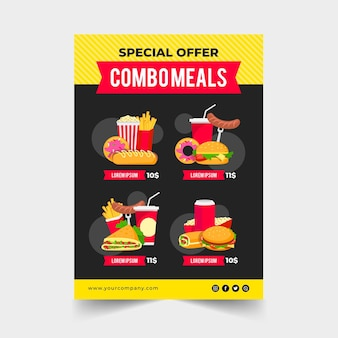 Comidas combo - concepto de cartel
