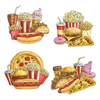 Comidas y snacks de comida rápida para llevar. street cafe hamburguesas y bebidas frías.