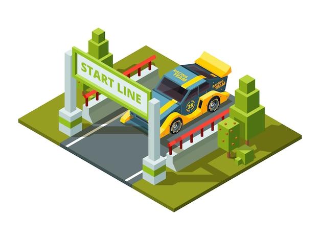 Comience autos de carrera. deporte isométrico en estilo de dibujos animados
