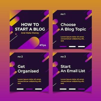 Comience un blog consejos sobre conjunto de publicaciones de instagram