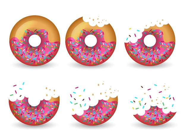 Comiendo rosquilla. etapas de animación de mitad de pastel sabroso glaseado delicioso. ilustración donut delicioso, postre de comida sabrosos dulces