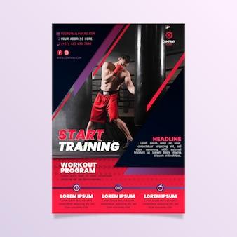Comienza a entrenar plantilla de póster deportivo