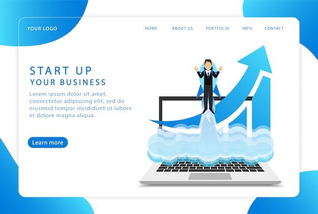 Comienza tu negocio. iniciar un proyecto. página de destino. páginas web modernas para sitios web.