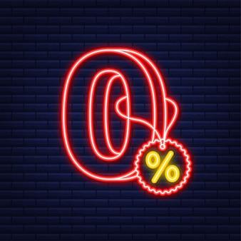 Comisión cero. elemento de diseño. oferta limitada roja. icono de neón. insignia de oferta especial. ilustración de stock vectorial.