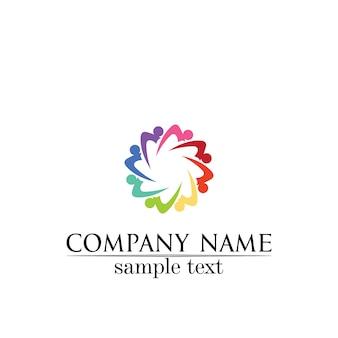 Community care logo people icons en concepto de vector de círculo